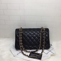 100% AUTH NEW 2019 Chanel BLACK QUILTED CAVIAR MEDIUM DOUBLE FLAP BAG GHW image 2