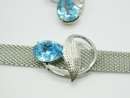 Pcraft Blue Rhinestone Silver Tone Pendant Necklace Earring Set Vintage ... - $44.54