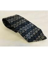 Oleg Cassini 100% Silk Tie Gray Geometric Design - $11.87