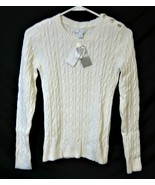 Macys Charter Club Women Cotton Knit Top Pullover Long Sleeve Vanilla Cr... - $24.44