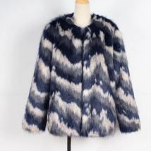 Women's Multicolor Luxury Designer Brand Fashion Faux Fur Coat image 7