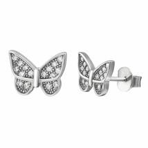 Sterling Silver 925 - Butterfly CZ Stud Women Kid Fashion Earrings in Gift Box - $8.90