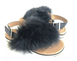 UGG HOLLY BLACK FLUFFY SHEEPSKINS STRAP SLIPPERS US 7 / EU 38 / UK 5 - $83.22