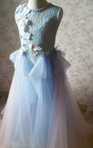 Light Blue Lace Flower Girl Dress Short Pencil Blue Birthday Party Dresses NWT image 9