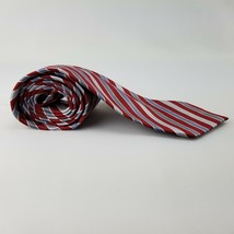 "New VAN HEUSEN Red Grey Blue Stripes 100% Polyester Men's Ties 58"" L 3.5"" w - $9.89"