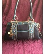 Kathy van Zeeland Blue Canvas / Faux Leather Shoulder Bag w/Charms, EUC - $49.00