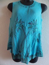 Top Fits L XL 0X 1X Blue Hand Painted Palm Trees Tank Cami A Shaped NWT 780 - $14.75