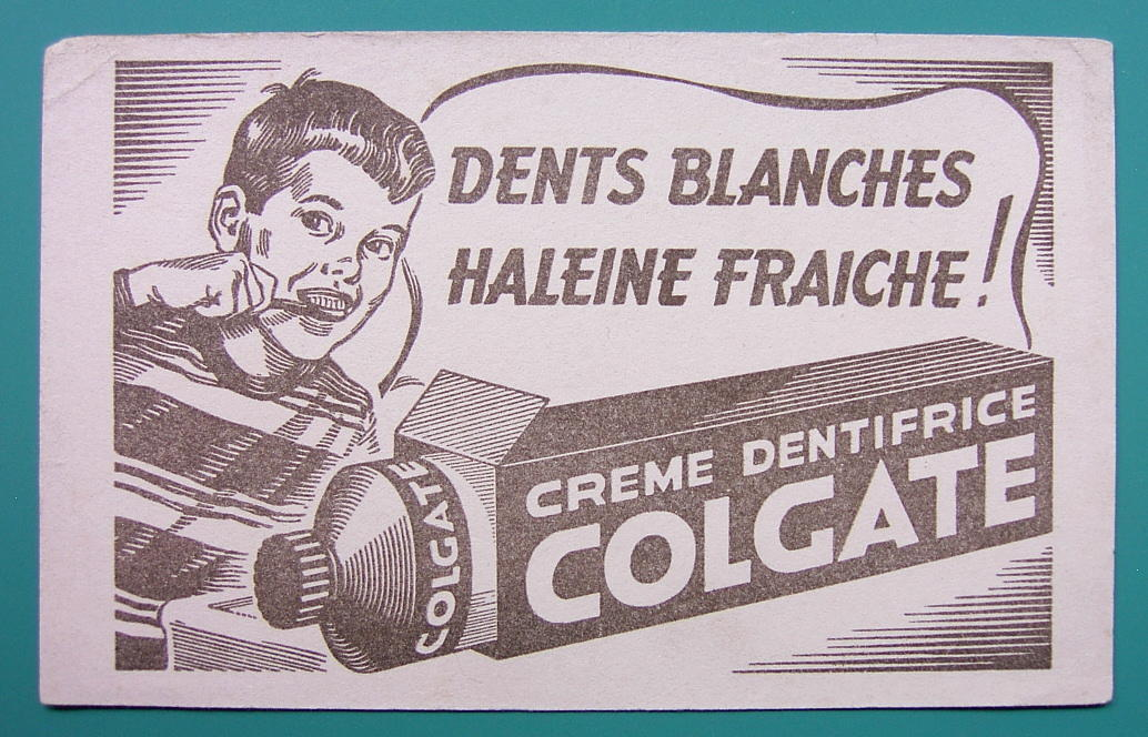 COLGATE TOOTHPASTE for White Teeth - c 1960 Ink Blotter Advertisement