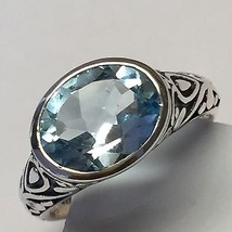 Genuine 2ct Swiss Blue Topaz 925 Solid Sterling Silver Filigree Ring sz 7 - $49.49