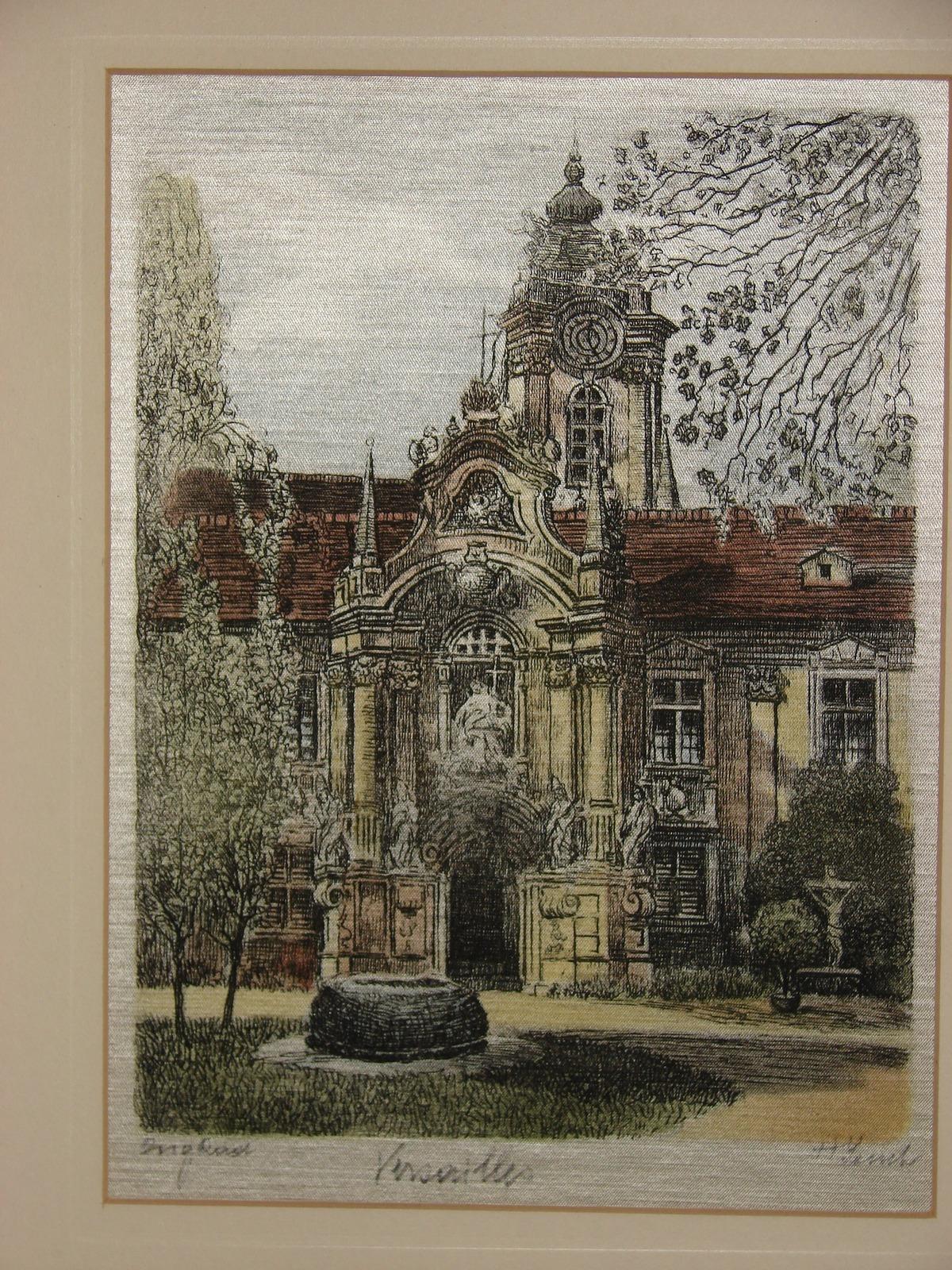 """Original Austrian Silk Etching by H. Leisch """"Versailles"""""""