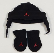 Nike Jordan Black Fleece Winter Hat & Fleece Mittens Toddler 12-24 Month... - $25.98
