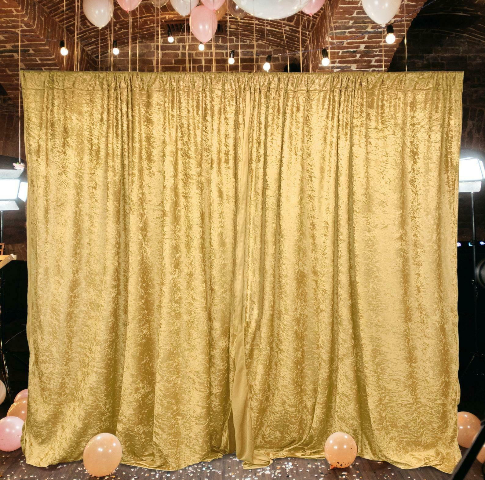 Primary image for 10 feet x 10 feet Panne Velvet Event Backdrop Drapes Curtains Panels Rod Pocket