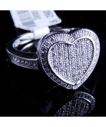 Ladies 14K White Gold Fn Lab Diamond Cluster Heart Enagement Ring Band - $59.99