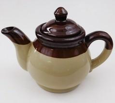 Stoneware Teapot Tricolor Striped 3 Tone Glazed Beige Brown 24 oz - $29.70