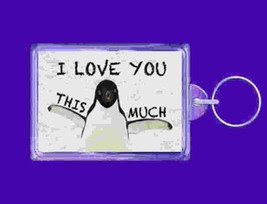 penguin i love you this much copyright design double sided design, keyring