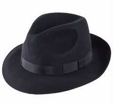 Christys' Hats Chepstow Wool Felt Trilby - Black 80032344 Size M - $78.21