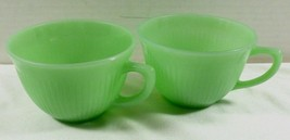 Oven Ware Fire King Jadeite Jane Ray 2 tea cups green ribbed dinnerware ... - $34.65