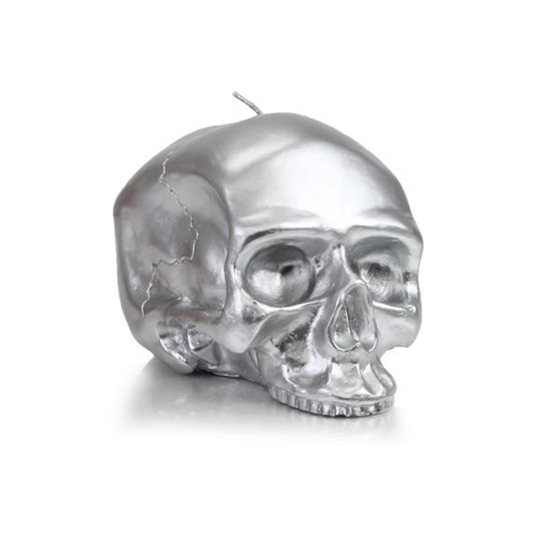 Primary image for D.L. & Company Medium - Silver Skull Metallic Candle