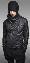 Mens Black Genuine Cowhide Hand made Real  Bespoke Leather Jacket  Leather - $118.79+