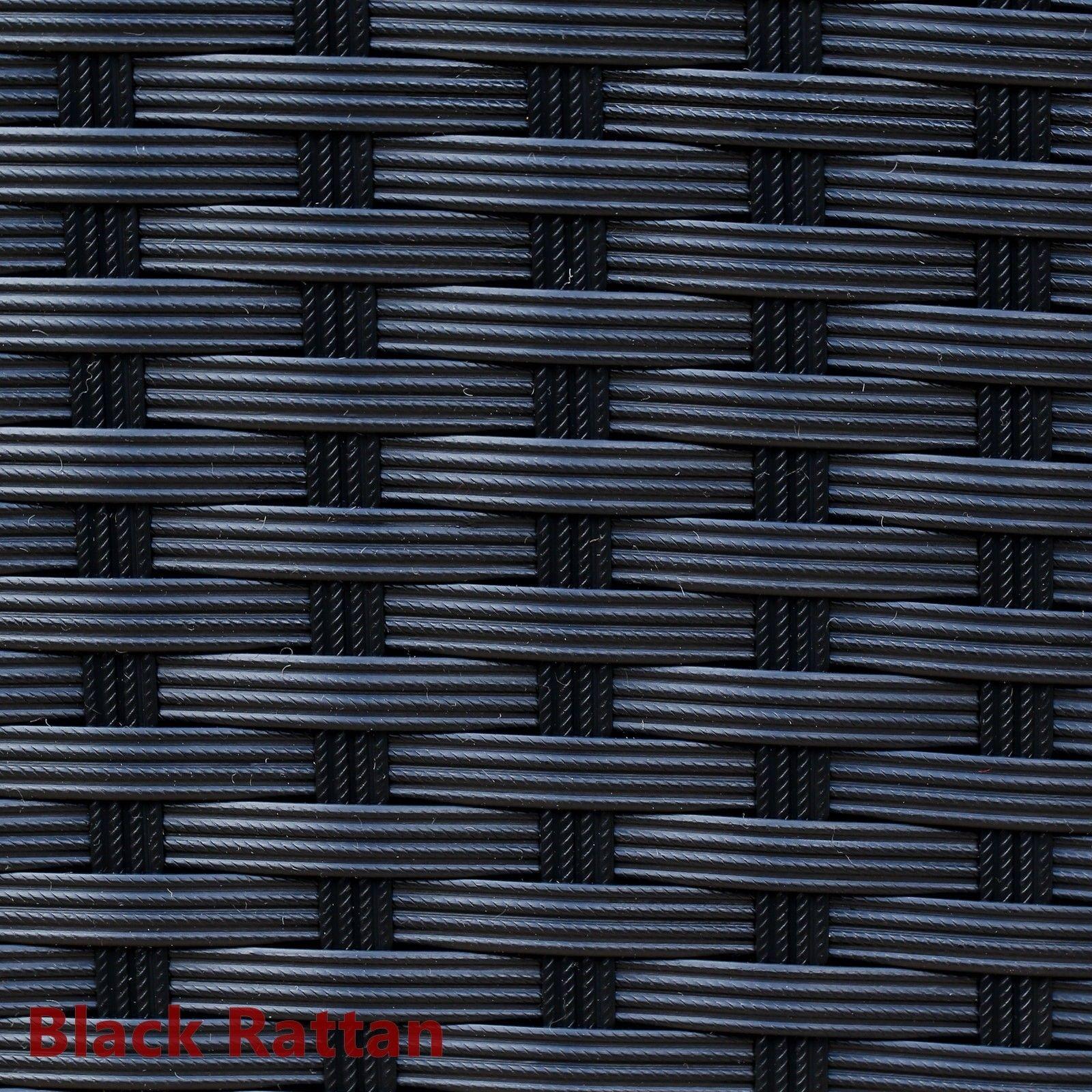Black Rattan Sofa & Stool Set Modular Outdoor Garden Furniture Dark Cushions New image 4