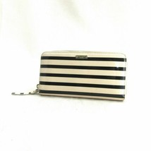 Kate Spade Neda Watch Hill Black Cream Patent Leather Striped Zip Wallet... - $58.00