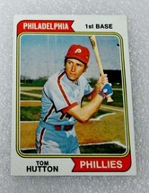 1974 Topps Tom Hutton Baseball Card! Phillies EX-NM Topps #443 1974 - $2.71