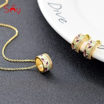 Sunny Jewelry Enamel Round Jewelry Set For Women Earrings Necklace Penda... - $17.81