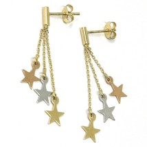 """18K YELLOW ROSE & WHITE GOLD PENDANT EARRINGS THREE WIRES, FLAT STARS, 1.5"""" image 1"""