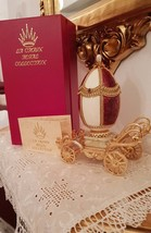 Faberge egg VINTAGE 24k GOLD Musical Russian Natural GOOSE egg Gift Collectible  - $999.00