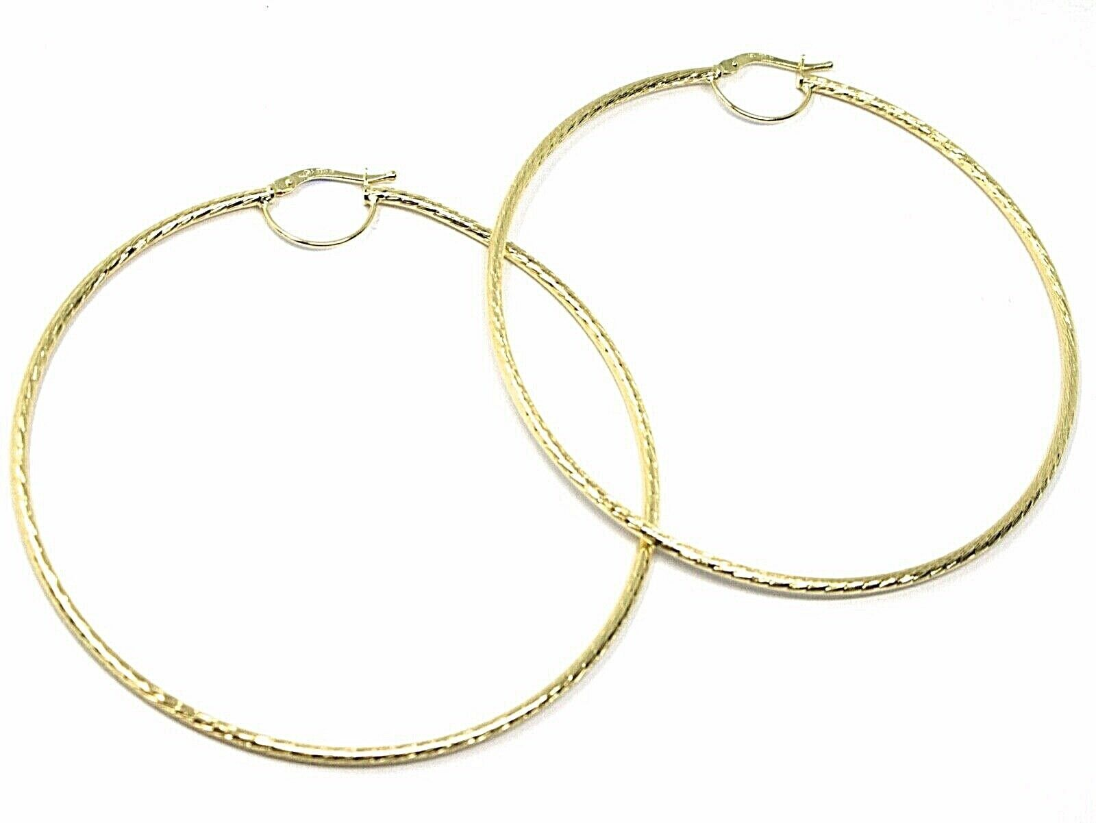 18K YELLOW GOLD BIG CIRCLE HOOPS DIAMETER 67mm EARRINGS TUBE 2mm FACETED STRIPED