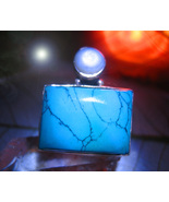 Haunted RING WARRIOR GUIDE PROTECTION SPIRIT MAGICK 925 TURQUOISE WITCH ... - $59.77