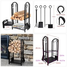 Fireplace Log Rack with 4 Tools Indoor Outdoor Fireside Firewood Holders... - $102.76