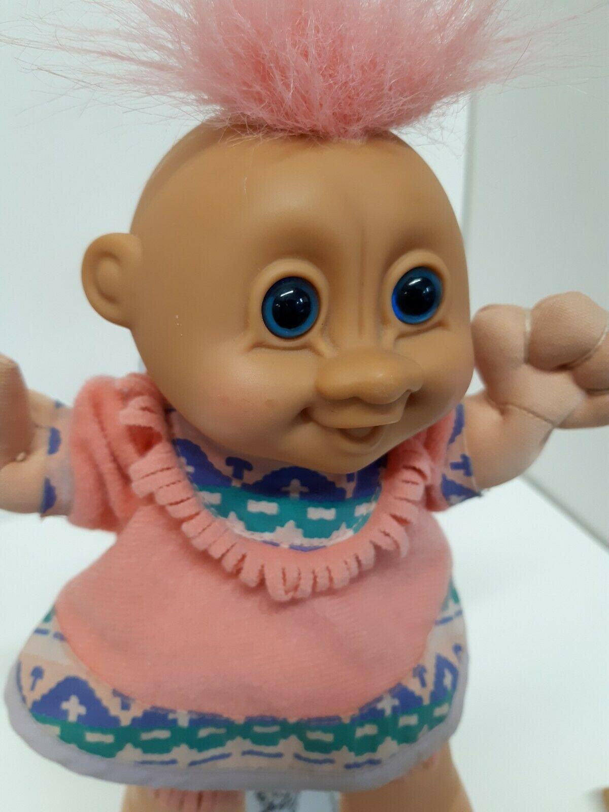 "Vintage Russ Girl Troll Doll 8.5"" Custom Navajo Indian Costume No 259 Pink Hair"
