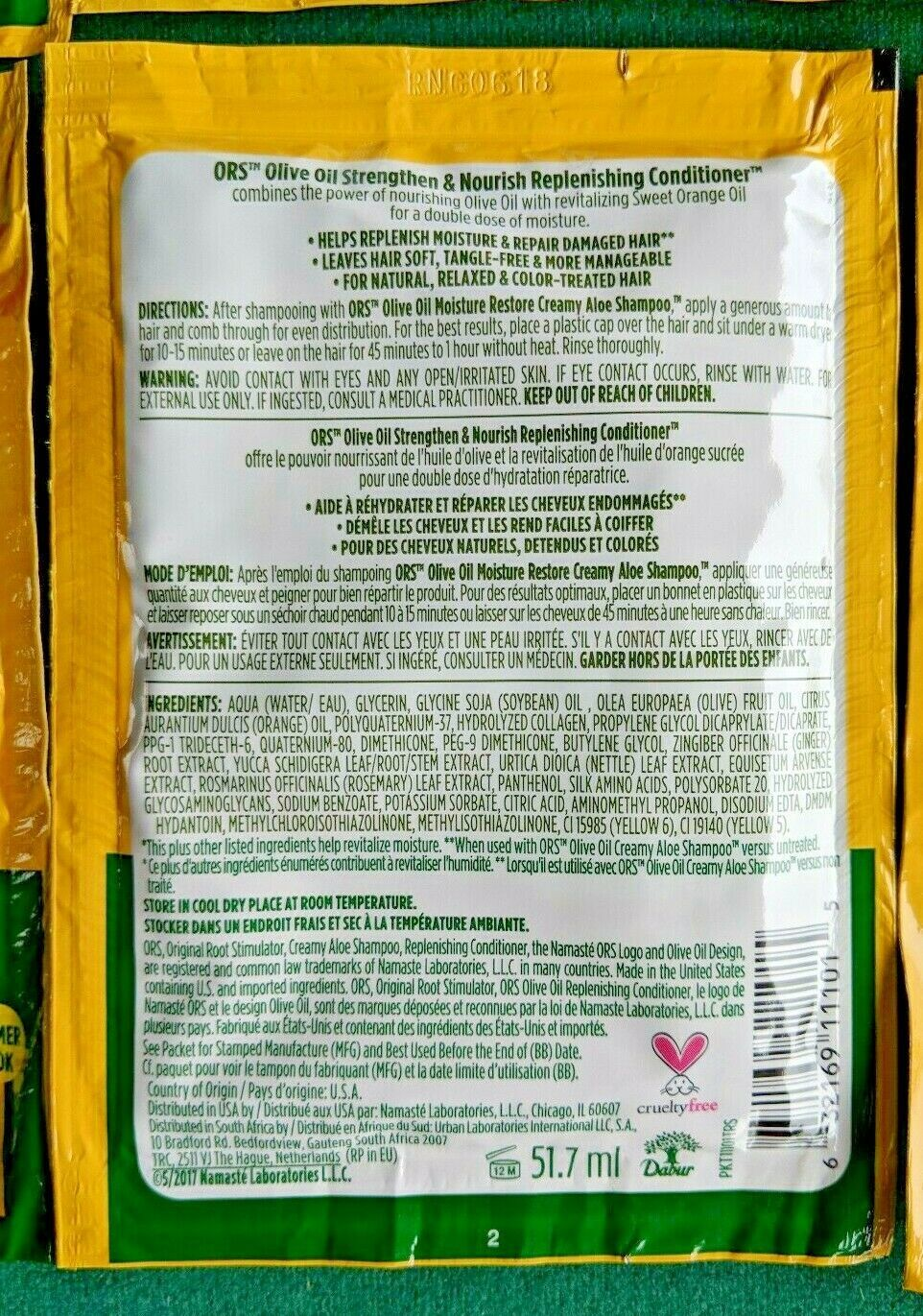 Lot 8 ORS Olive Oil Replenishing Conditioner Sweet Orange Revitalizing 1.75 oz