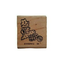 1996 Stampin Up Patches Buttons Hearts Sewing Wooden Rubber Stamp  - $9.89