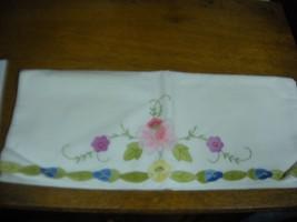 VINTAGE Aplique Cotton Pillowcase Pink PUrple green blue - $4.99