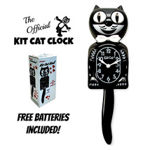 """CLASSIC BLACK KIT CAT CLOCK 15.5"""" Free Battery USA MADE Official Kit-Cat... - $49.99"""