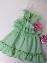 NWT Smoochie Pooch Green/White Striped Ruffle Bling Flower Dog Puppy Dre... - $18.69