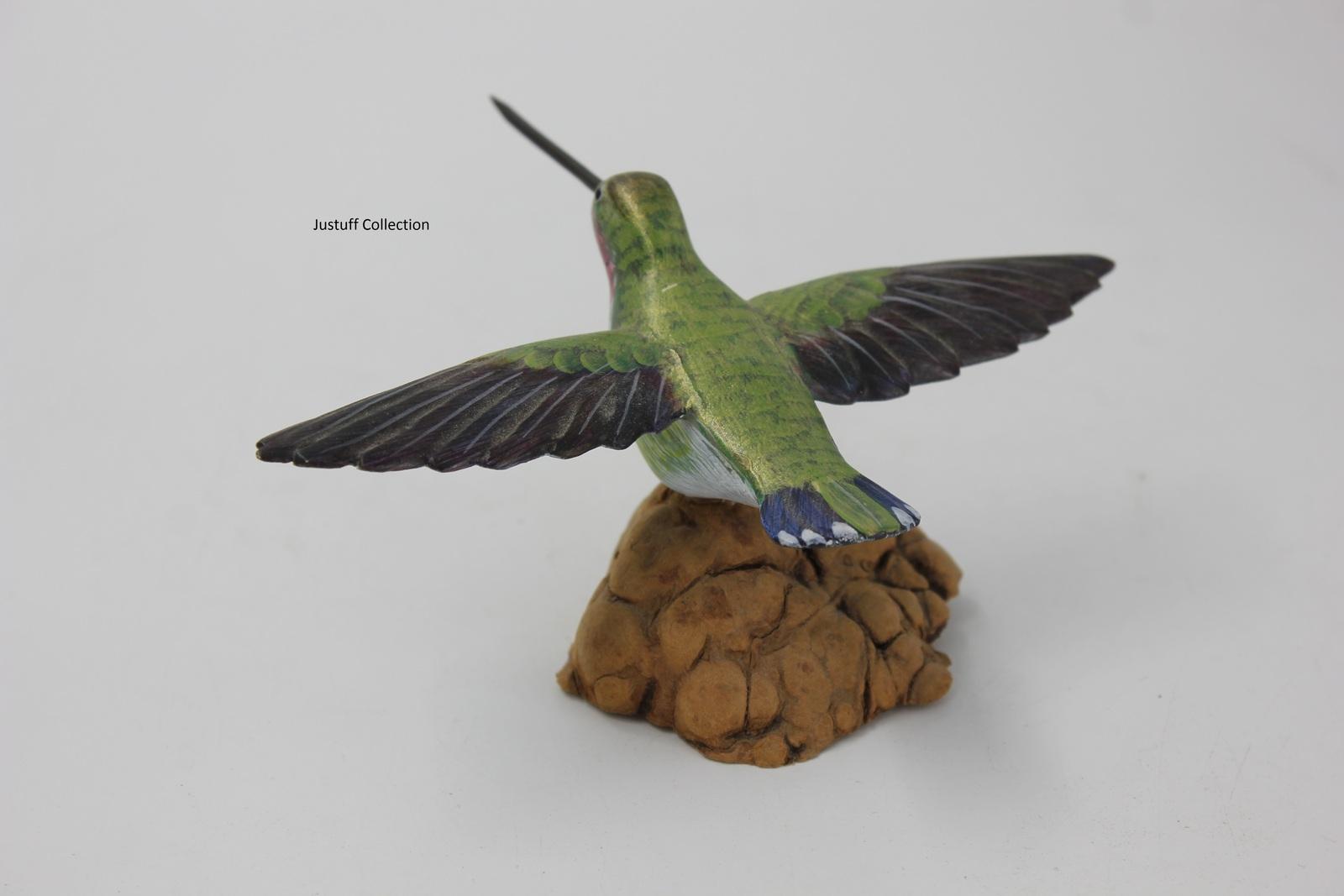 Set of four Folkart handpainted wooden birds