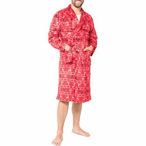 NWT Mens Gents Full Length Polyester PLUSH Bathrobe  Red Robe Gown  S/M - $22.27