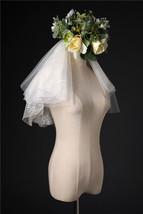 Ivory Shoulder Length Wedding Bridal Veils Layer Floral Lace Tulle Bridal Veils  image 3