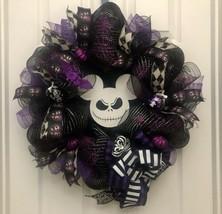 Jack Skellington Wreath, Halloween wreath, mickey jack skellington - $69.76