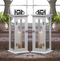 Two Tall Sleek Contemporary Highland White Wooden Candle Lantern Silver ... - $92.10