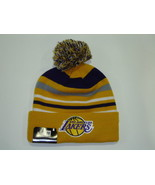 New Era NBA LA Lakers Gold Striped Jake Cuffed Knit Pom Beanie Cap NewEra - $18.80