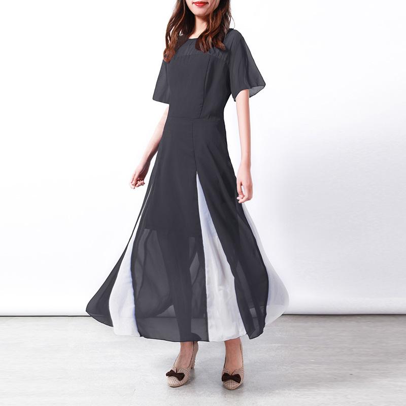 Women Maxi Dress Short Sleeve Patchwork Summer Casual Chiffon Long Dress