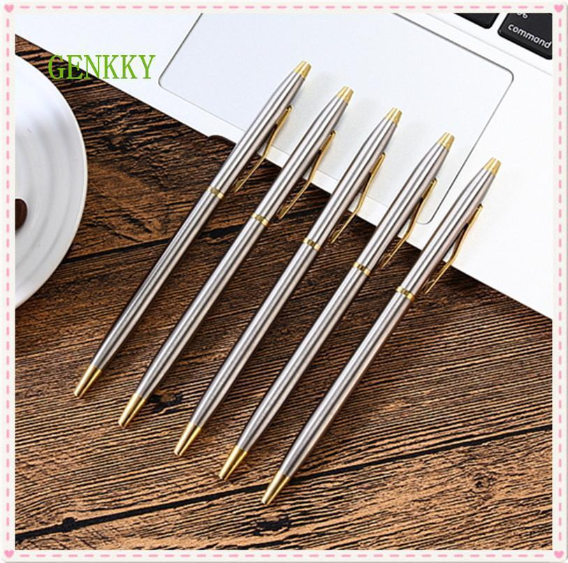 Genkky 1pcs Stainless steel rod rotating Metal ballpoint Pen Stationery Ballpen