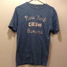NHL CCM Light Blue New York Rangers Shirt w Beige Lettering Sz S