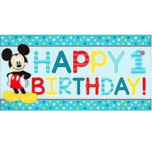 Mickey Fun To Be One Horizontal Giant Banner 1st Birthday Party - $4.17