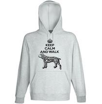 Cane corso - keep calm and walk b - NEW COTTON GREY HOODIE  - $31.88