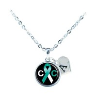 Custom Cervical Cancer Awareness Ribbon Necklace Jewelry Initial Family Charm - $13.94